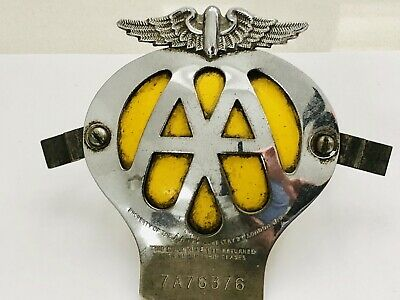 Old Vintage 1950's Aa Car Badge No 7a76376 With Backing Plate & Bolts Professional Design Vehicle Parts & Accessories