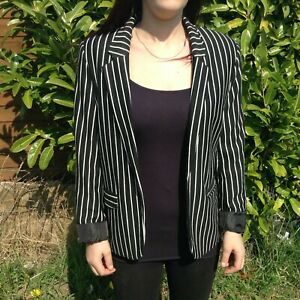 Atmosphere-Womens-blazer-UK-10-wrap-jacket-black-and-white-stripe-evening