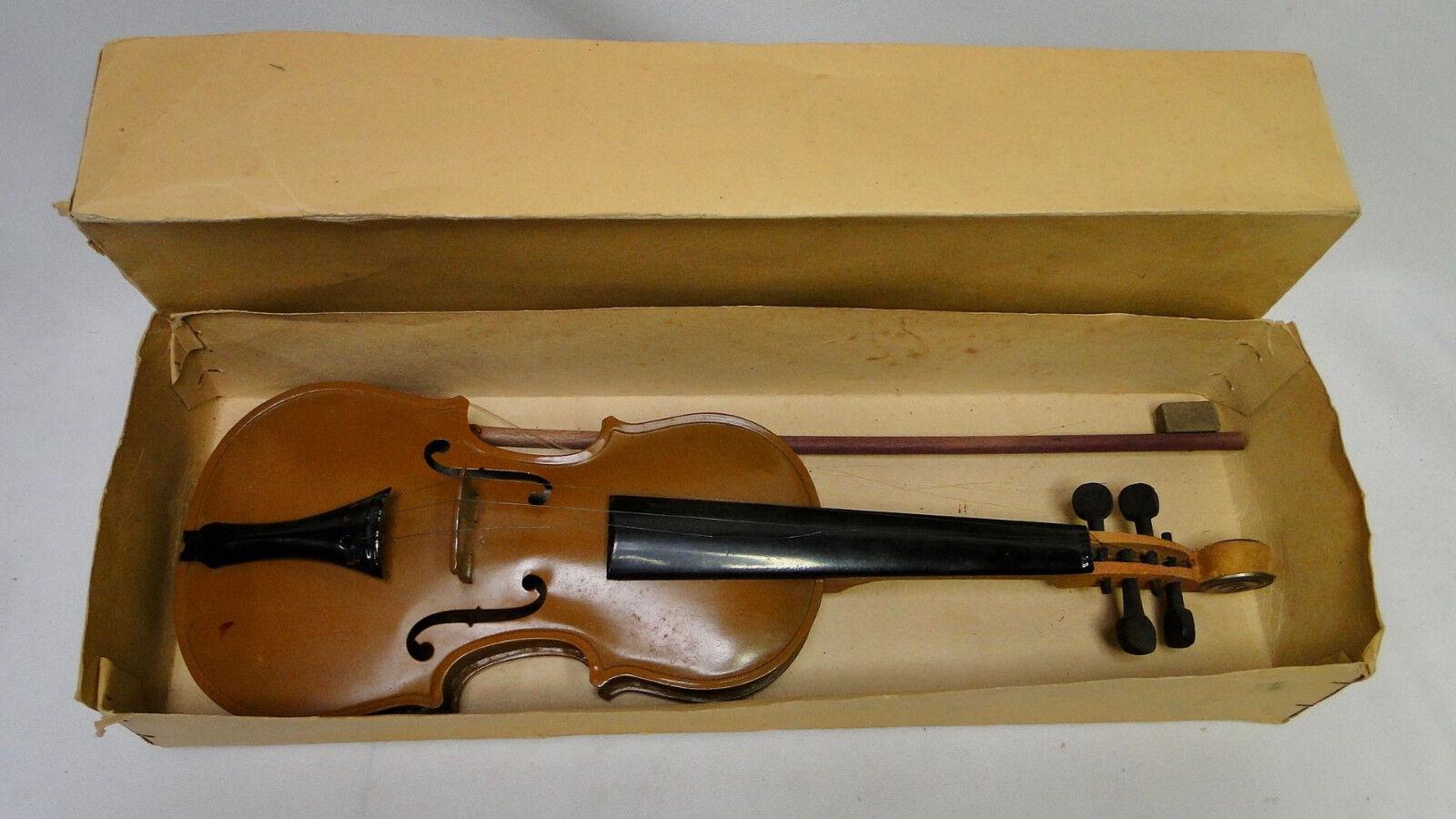 Vintage Czechoslovakia Tin and Wood Violin Toy MIB music instrument viool