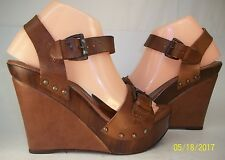 Aldo EU39 US8.5 Brown Leather Ankle Strap Wedge Shoes platform Sandals Italy