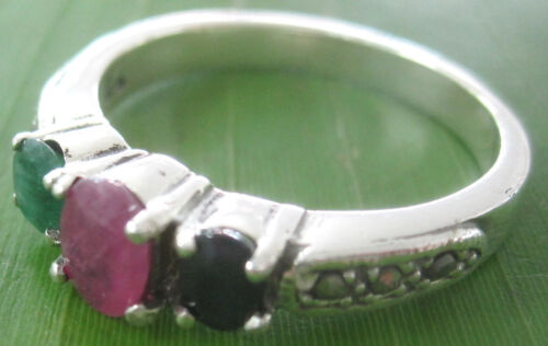 """REAL 925 sterling silver NATURAL /""""RUBY SAPPHIRE EMERALD/"""" Marcasite Ring WOMEN"""