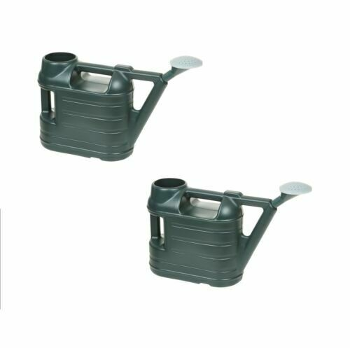 2 x 6.5L Ward Green Plastic Garden Watering Can With Rose Sprinkler