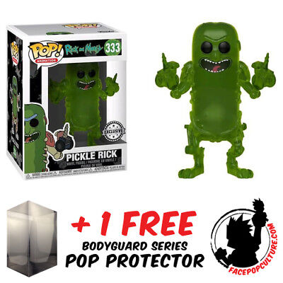 FREE POP PROTECTOR FUNKO POP RICK AND MORTY PICKLE RICK TRANSLUCENT EXCLUSIVE