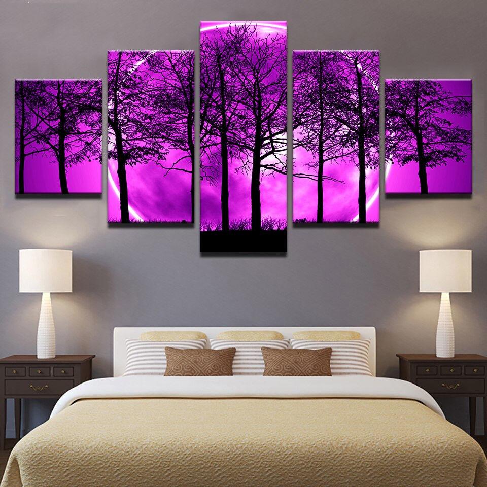 Dead Trees lila Night Sky 5 Panel Canvas Print Wall Art