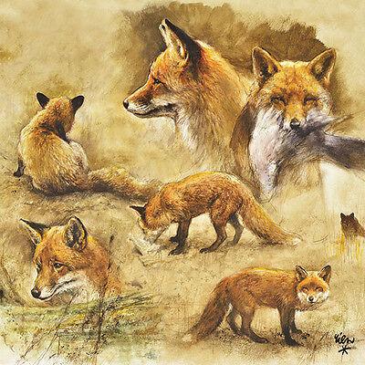 Servietten 20, Serviettentechnik Portrait of Foxes Fuchs Ambiente 33 x 33