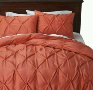 Threshold Coral Pinch Pleat King Duvet Cover Set 3 Pc