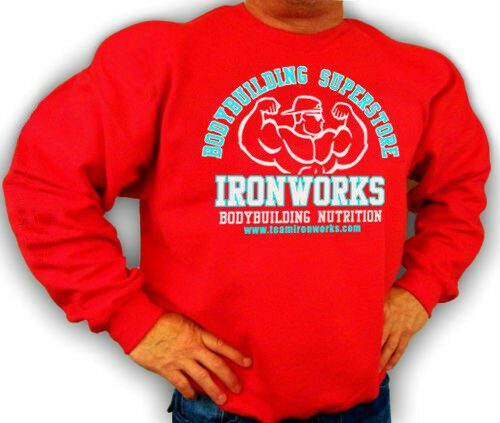RED  BODYBUILDING CLOTHING SWEATSHIRT WORKOUT  TOP   TEAM IRONWORKS  LOGO D-32