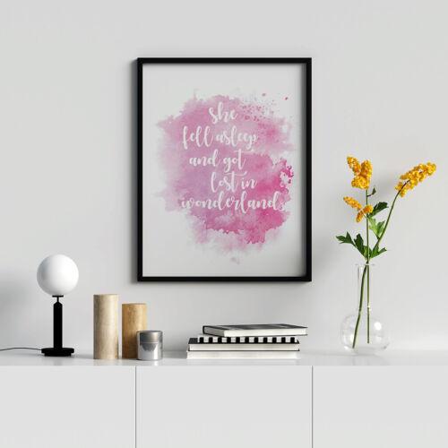 Alice In Wonderland Watercolour Quote Nursery Print Children/'s Bedroom Décor