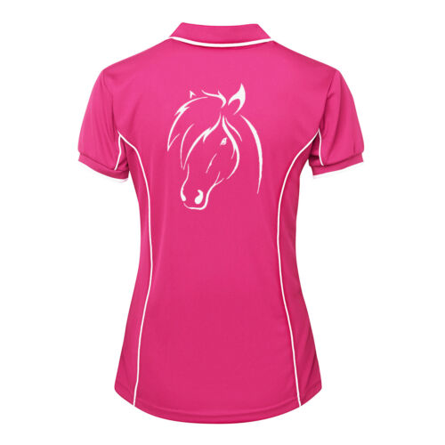 HORSE HEAD LADIES POLO SHIRT BRAND NEW SIZES 8-24