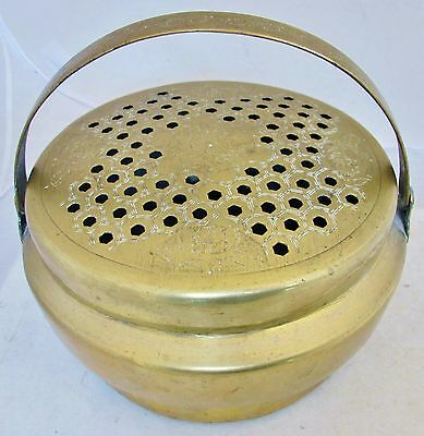 "9.5"" Antique Chinese Brass Bed Warmer or Foot Warmer with Handle"