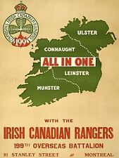 PROPAGANDA WAR CANADA IRISH RANGER MAP IRELAND ENLIST ART POSTER PRINT LV7175