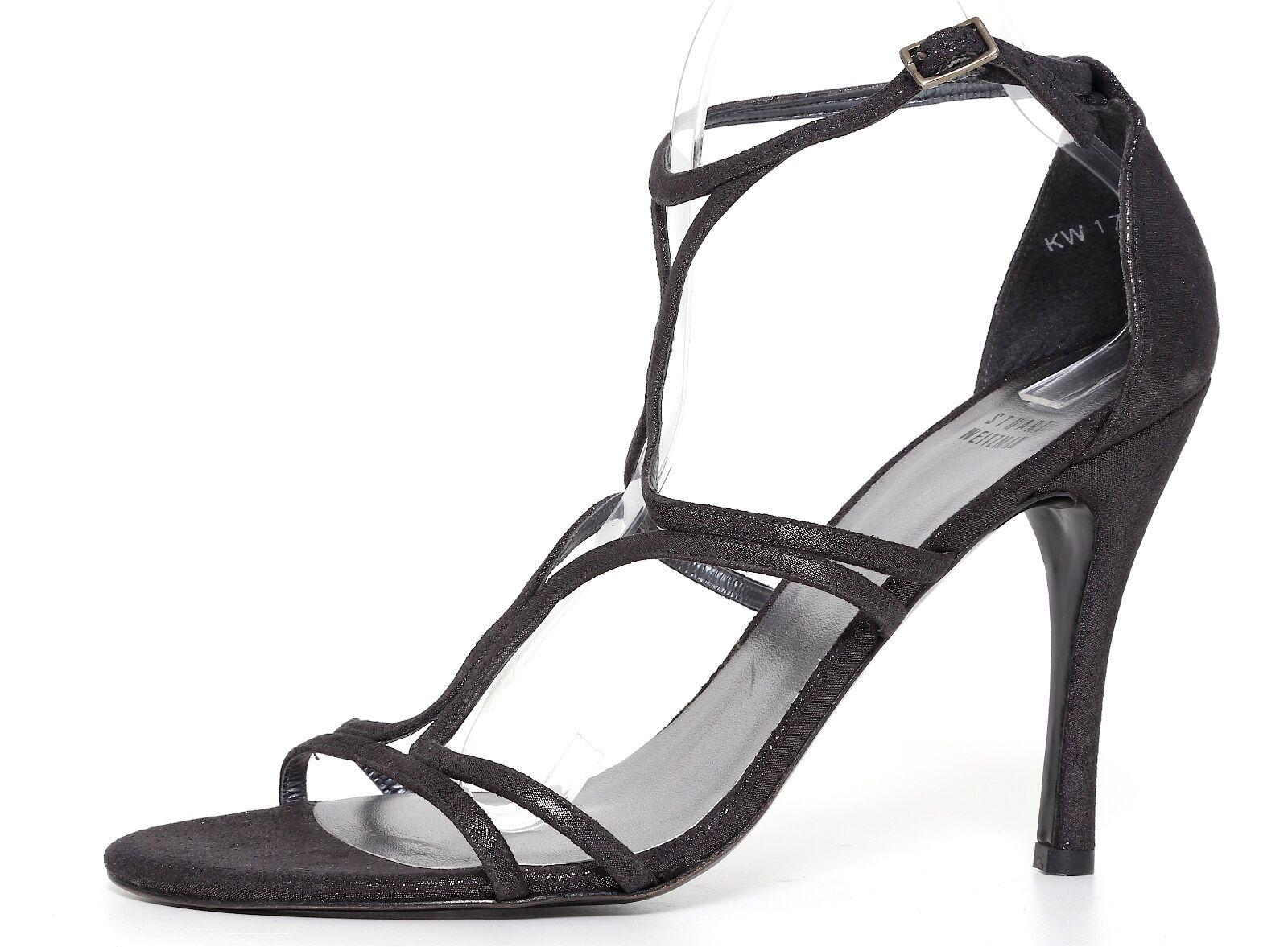 connotazione di lusso low-key Stuart Weitzman Ankle Strap Suede Sandals nero Glitter donna Sz Sz Sz 10 M 6809  prima qualità ai consumatori