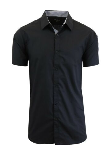 Mens Short Sleeve Dress Shirts Button Down Slim Fit Casual Solid Colors NWT NEW