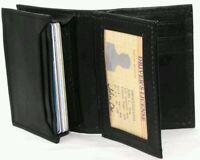 Card Holder Black Leather Student Wallet 8+ Cards 1 Id Window Middle Flap 16