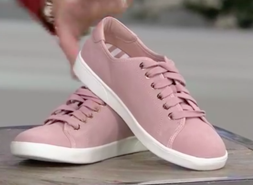 NEW Vionic Water Resistant Suede Lace-up Sneakers BRINLEY 8.5 WIDE LIGHT PINK 40