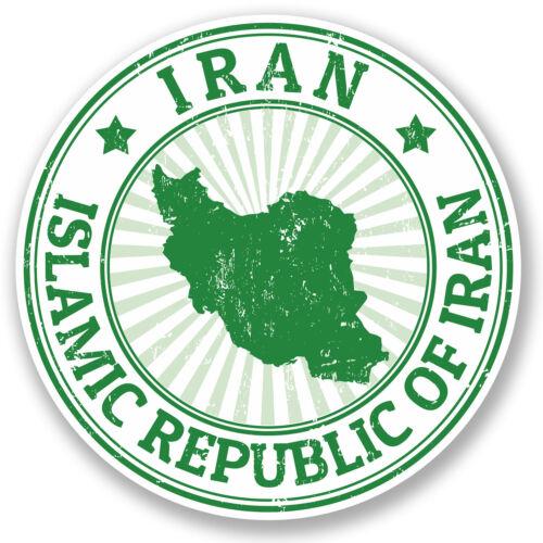2 X 10 Cm Irán pegatina de vinilo Ipad Laptop coche Bandera Equipaje De Viaje Tag Mapa # 5482