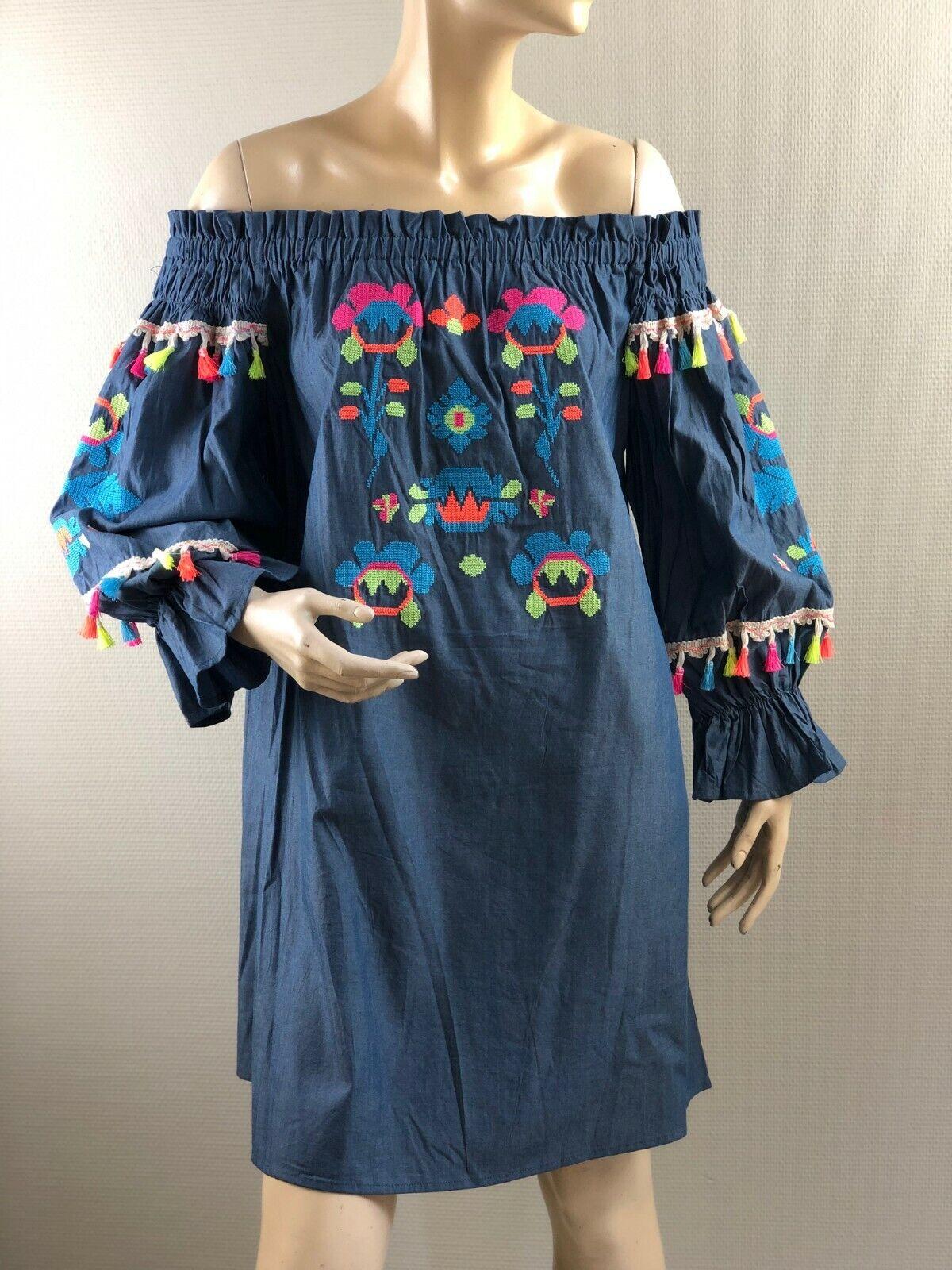 Wiya jeans blau Tunika Carmen Kleid Stickerei Quasten Hippie S M Look