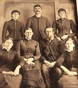 Antique Victorian Cdv Photograph Rare Family Portrait 7 People Fashion Group Ebay