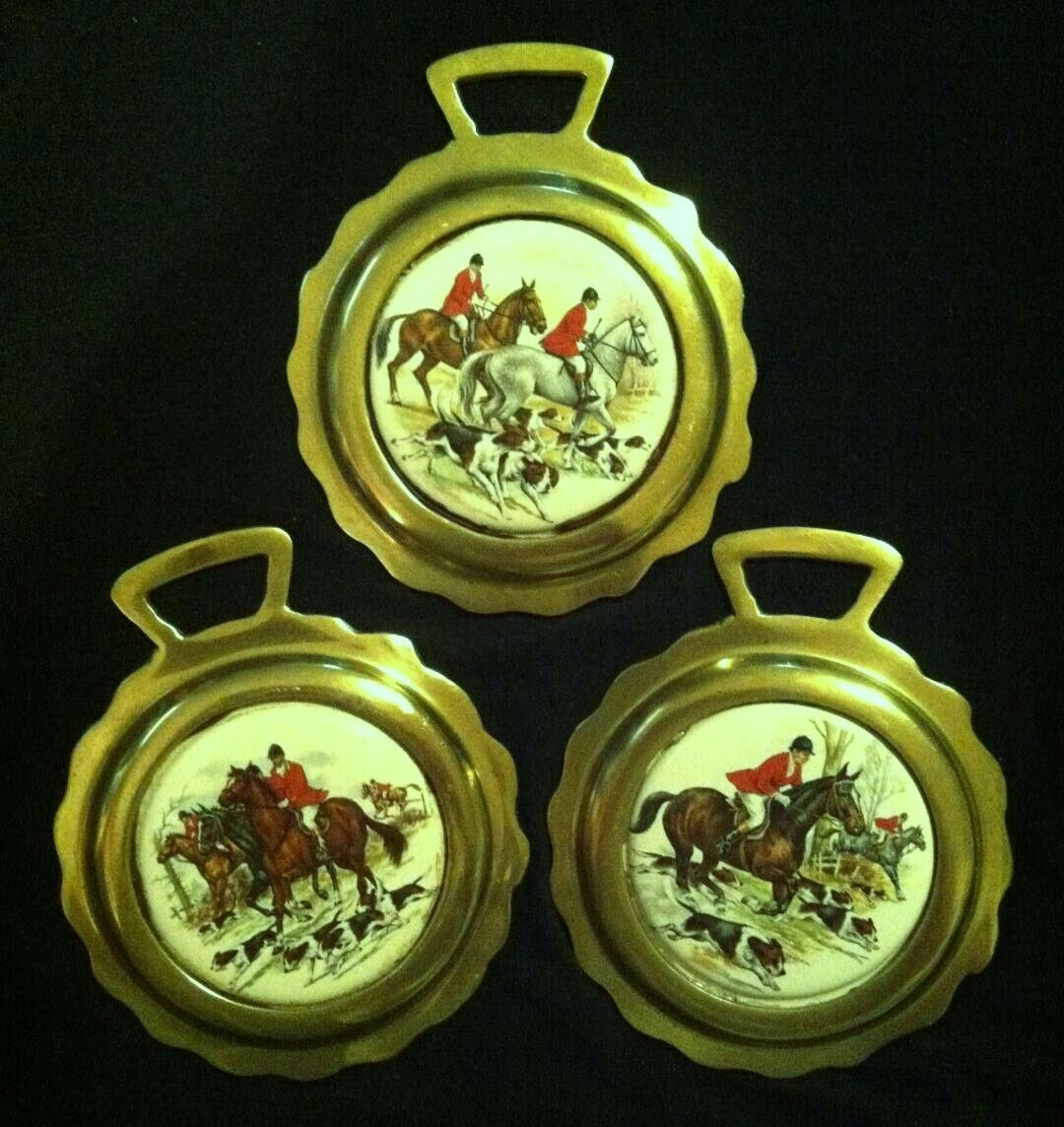Vintage SET OF 3 SUPER gree Porcelain Foxhunting Brasses  RARE  WOW YOUR WtuttiS