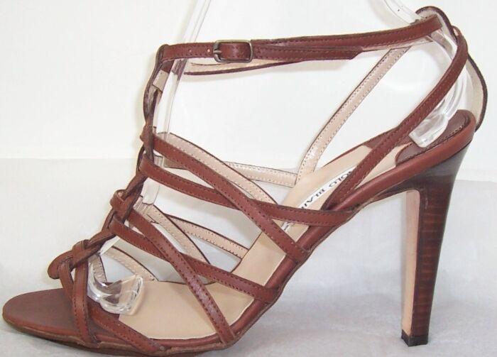 MANOLO  BLAHNIK Marronee Leather Strappy Sandals scarpe 40.9.5  edizione limitata