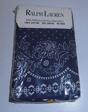 2 NEW Rare Ralph Lauren Kennebunkport Bandana King Cases Calico Floral Blue IRR