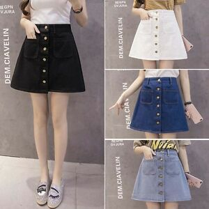 Summer-Women-A-line-Pencil-Jeans-Front-Button-High-Waist-Denim-pockets-Skirt