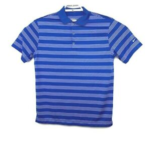 Nike-Golf-Mens-Blue-Striped-Dri-Fit-Short-Sleeve-Performance-Polo-Shirt-Size-M