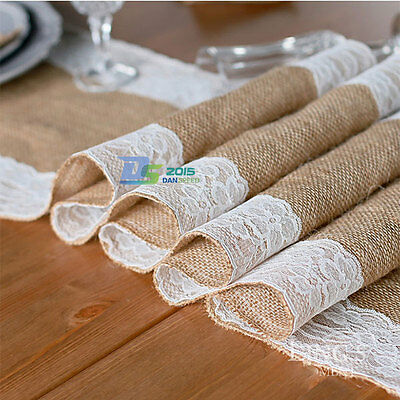 "12""x 108"" Wedding Lace Burlap Jute Party Banquet Table Runner Hessian Decoration"