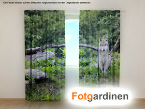 fotogardinen wolf vorhang 3d fotodruck fotovorhang. Black Bedroom Furniture Sets. Home Design Ideas