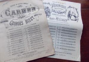 CARMEN-BIZET-et-VERONIQUE-MESSAGER-LOT-2-PARTITIONS-ANCIENNES-CHANT-ET-PIANO