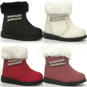 GIRLS-BIKER-BOOTS-KIDS-BABY-RIDING-ANKLE-WARM-ZIP-FUR-INFANTS-PARTY-SHOES-SIZE