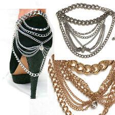 WOMEN Gold Silver Full METAL Heel Shoe Ankle Chain bracelet Jewelry Party Dress