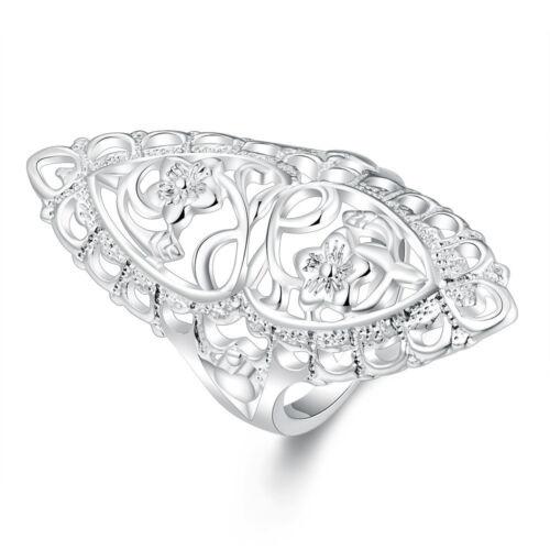 925 Plaqué Argent Creux Grande Bague de mariage Taille 6,7,8,9,10 femme Fashion Jewelry