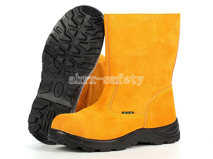 Men's Leather Safety Shoes Steel Toe Anti Puncture & Static Work High Boots