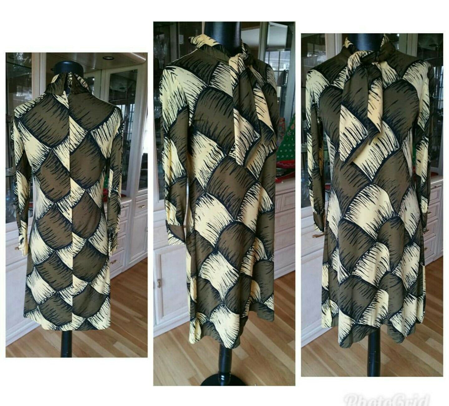 MR Gee VINTAGE Dress Sheath Mod Mad Men 60s Geometric Hipster Retro