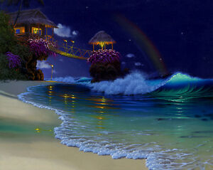 Canvas-Print-Oil-painting-Picture-Fantasy-Rainbow-Beach-scene-on-canvas-L686