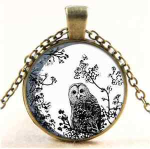 Vintage-Owl-Birds-Wildlife-Moon-Cabochon-Glass-Bronze-Chain-Pendant-Necklace