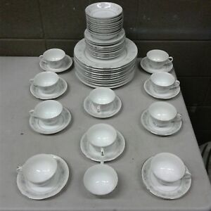 English-Garden-Fine-China-1221-Japan-51pc-Lot-Plate-Cups-Bowls-10-Person-Setting