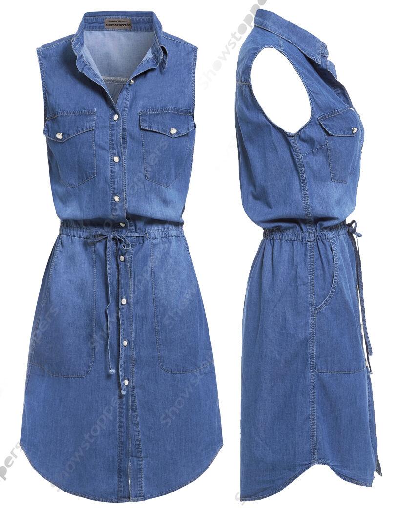 NUOVO women Lungo Camicia di jeans abito donne jeans vestiti taglia 8 10 12 14