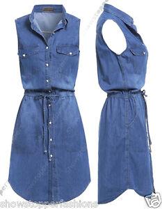 sports shoes 22e97 1573d Dettagli su NUOVO Donna Lungo Camicia di jeans abito donne jeans vestiti  taglia 8 10 12 14