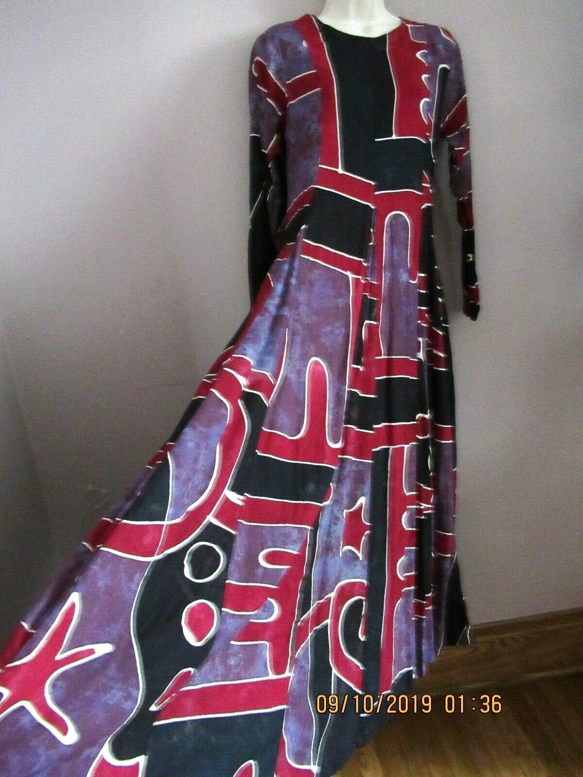 70s Maxi Dress Large Vintage Caftan Dress Long Sleeve Maxi Boho Maxi Dress Turquoise Black  m  l