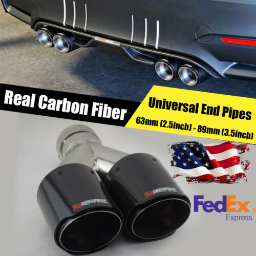 Universal Carbon Fiber Stainless Steel Car Rear Round Exhaust Pipe Tail Muffler