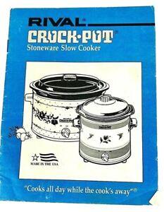 Rival Crock Pot Stoneware Slow Cooker Instruction Manual Recipes Booklet Ebay