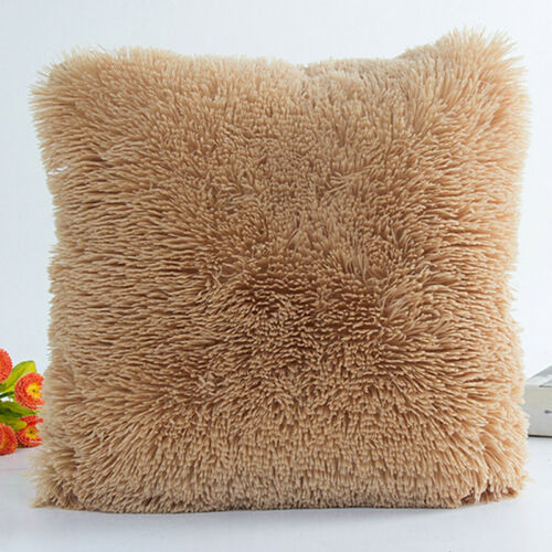 Warm Fur Plush Throw Pillow Case Home Sofa Seat Waist Cushion Cover Home Decor
