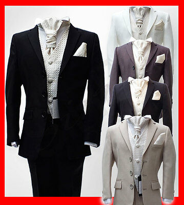 Boys Pageboy Wedding Cravat Suits In Black Navy Ivory Grey Suit Kids Prom Suits