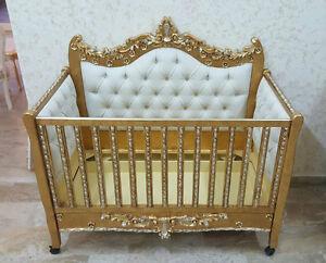 Culla per bambino a legno oro argento barocco ecopelle cristalli