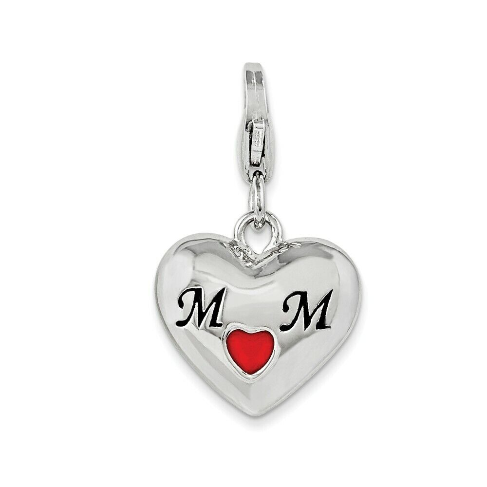 925 Sterling Silver Enameled Heart Mom w// Lobster Clasp Charm Amore La Vita Collection