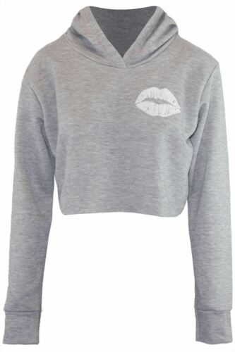 Womens Long Sleeve  Fleece Oversized Hoody Cute Lips Ladies Sweatshirt Crop Top