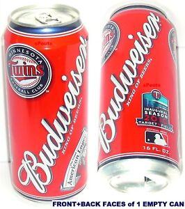 2010 MINNESOTA TWINS BASEBALL TARGET FIELD MLB BUDWEISER AMERICAN LAGER BEER CAN