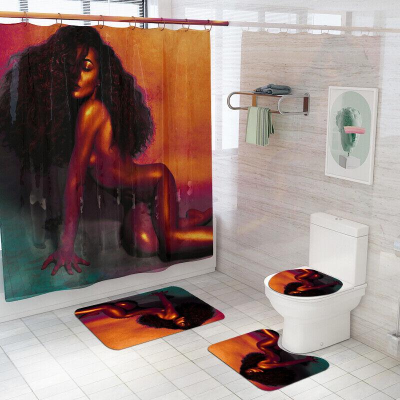 African Girl Shower Curtain Bathroom Rug Set Bath Mat Non-Slip Toilet Lid Cover